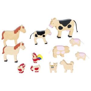 Goki Goki houten boerderijdieren (12-delig)