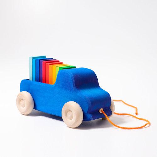 Grimms Grimms Houten Vrachtwagen met gekleurde blokken