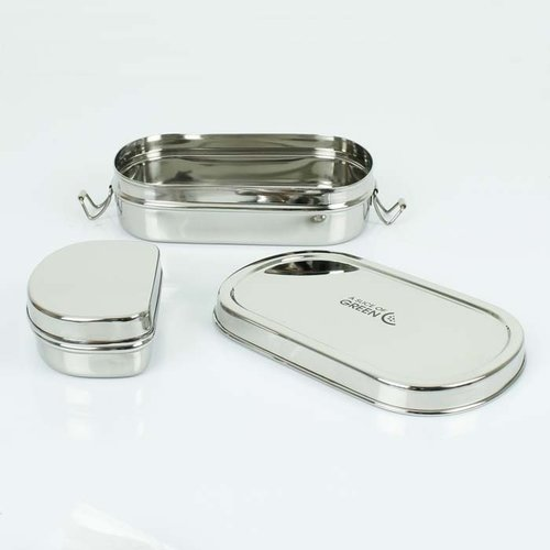 A Slice of Green Kangra - RVS Lunch Box met Mini Container