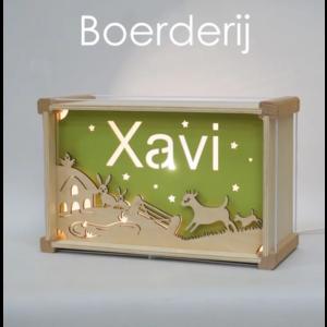 Houtlokael Naamlamp DeLuxe Boerderij