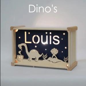 Houtlokael Naamlamp Dino