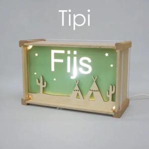 Houtlokael Naamlamp Tipi