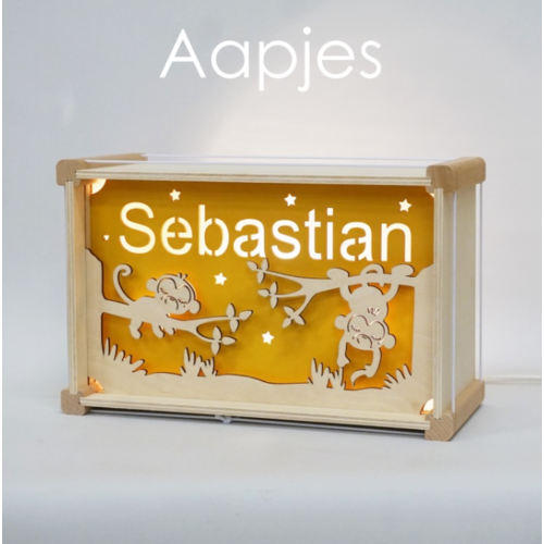 Houtlokael Naamlamp DeLuxe Aapjes