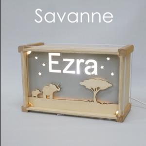 Houtlokael Naamlamp DeLuxe Savanne