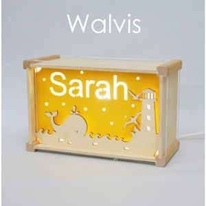 Houtlokael Naamlamp DeLuxe Walvis
