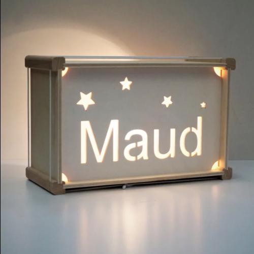 Houtlokael Naamlamp Box (kleur naar keuze)