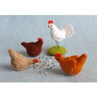 Atelier Pippilotta 3 kippen en een haan