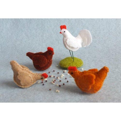 Atelier Pippilotta  Atelier Pippilotta 3 kippen en een haan