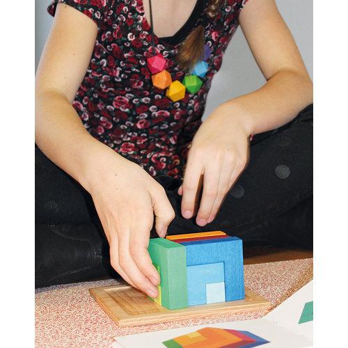 Grimms Grimms Bouwset Vierkant klein inclusief boek met  voorbeelden!