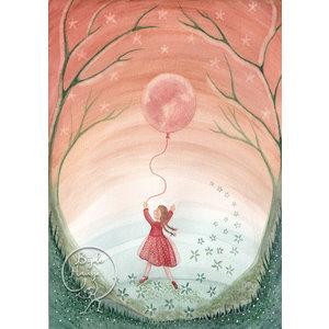 Bijdehansje Kaartjes Bijdehansje Meisje met de maan ballon