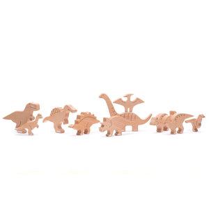 Bajo Houten Speelgoed Bajo - Bajosaurs - Set van 10