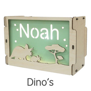 Houtlokael Naamlamp Dino (kleur naar keuze)