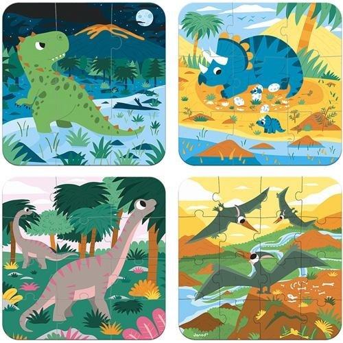 Janod Janod Puzzelkoffer Dinosaurus - 4 puzzels