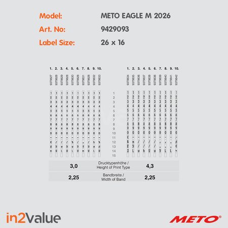 METO Meto Eagle Prijsapparaat, type M 2026