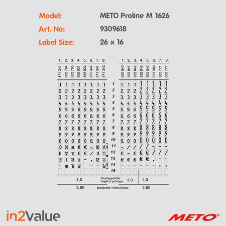 METO Meto Proline Prijsapparaat, type  M 1626