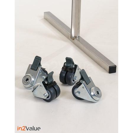 In2Value Preventiescherm onbreekbaar staand model 1900x1000mm RVS frame inclusief wielen