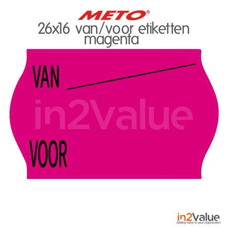 METO Meto DA Etiketten Magenta 26x16mm afneembaar Van/Voor (18x1200 stuks)