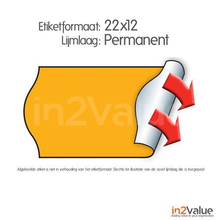 METO Meto Basic etiketten fluor oranje 22x12mm G2 (6x1000 stuks)