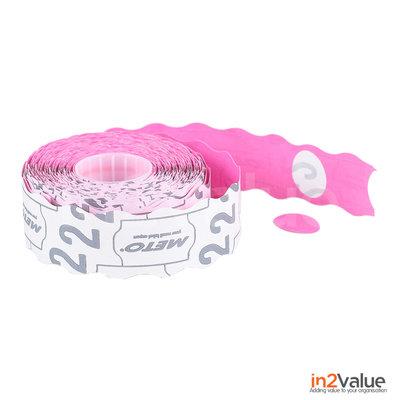 METO Meto Prijsetiketten Ovaal roze 20x14 (26x16) mm (18x1200 stuks)