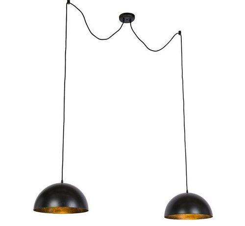 QAZQA Hanglamp Magna Basic Duo  Zwart / Goud 35cm