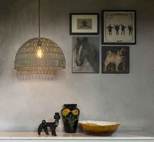 QAZQA Hanglamp Papella Grijs