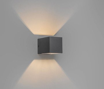 QAZQA Wandlamp Transfer Antraciet