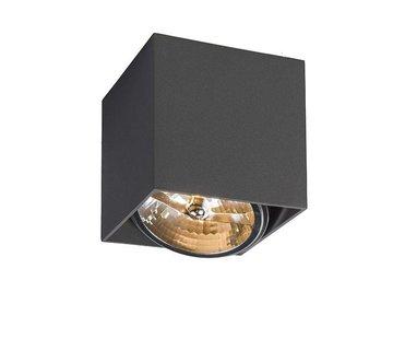 QAZQA Opbouwspot New York vierkant 1-lichts Antraciet
