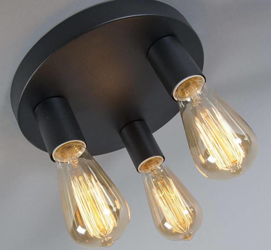 Plafonniere Facil 3-lichts Zwart
