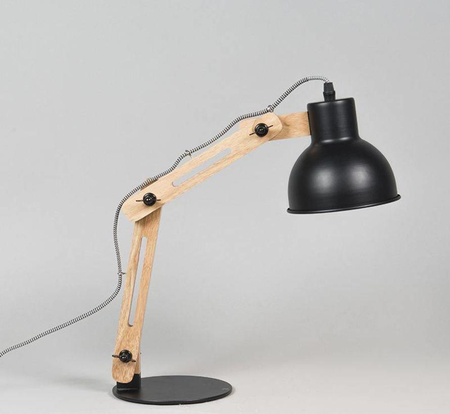 Tafellamp Woodi mat zwart
