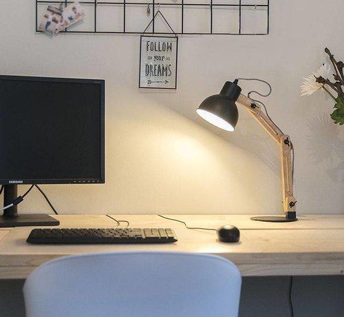QAZQA Tafellamp Woodi mat zwart