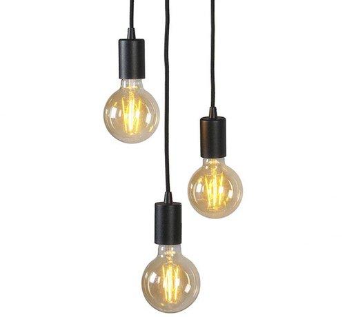 QAZQA Hanglamp Facil 3 zwart