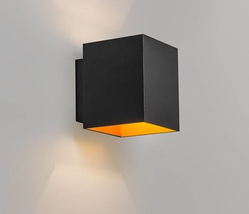 QAZQA Wandlamp Sola Zwart / Goud