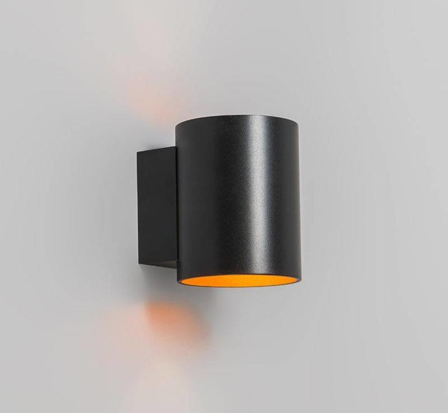 Wandlamp Sola Rond Zwart / Goud