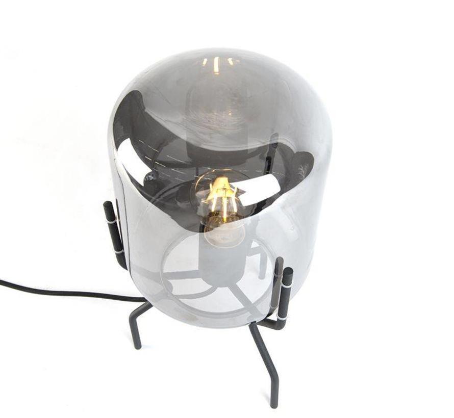 Tafellamp Bliss zwart smoke glas