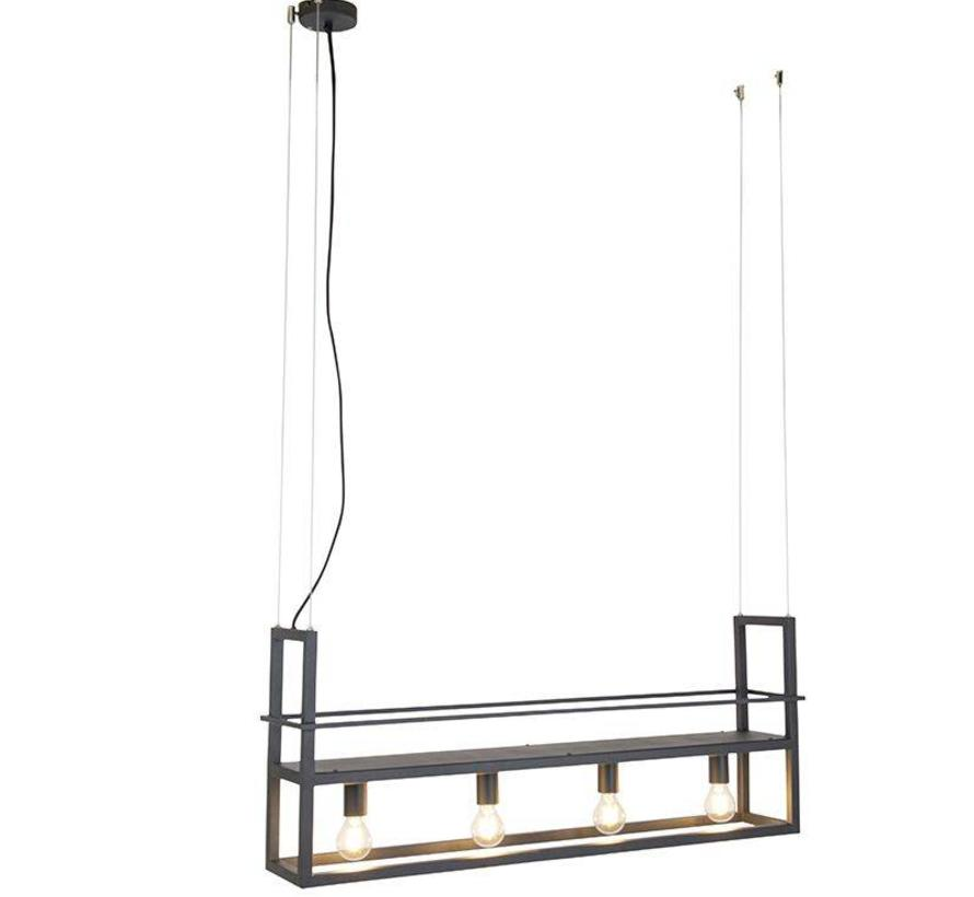 Hanglamp Cage Rack met rek zwart