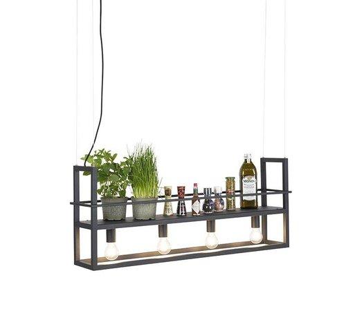 QAZQA Hanglamp Cage Rack met rek zwart