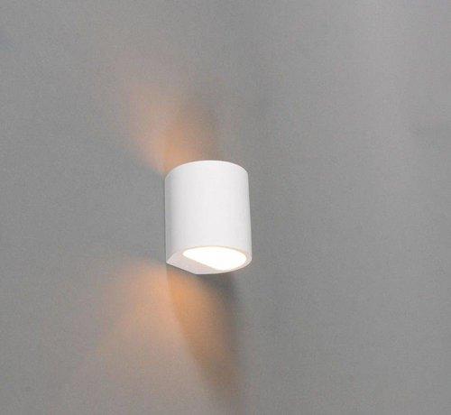 QAZQA Wandlamp Gips Arles Ovaal