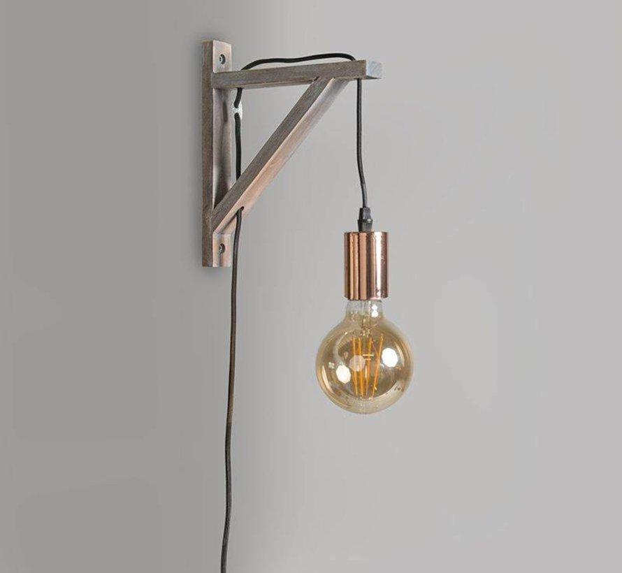 Wandlamp Galgje taupe met koper