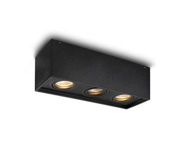 DMQ Opbouwspot New York GU10 vierkant 3-lichts Zwart