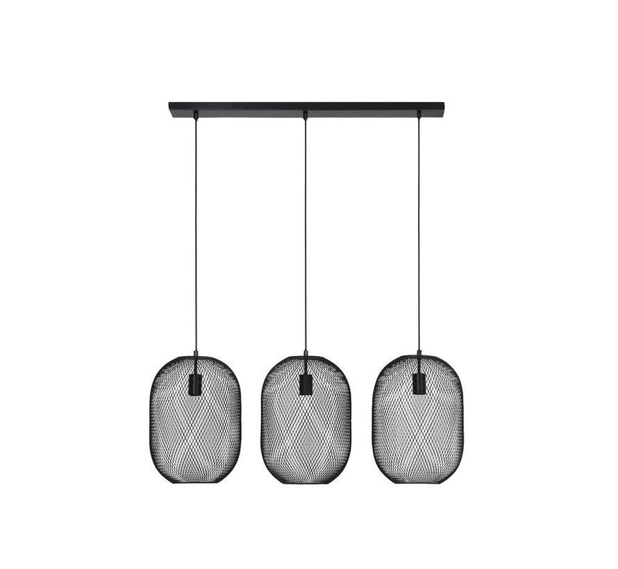 Hanglamp Reilley 3L mat zwart
