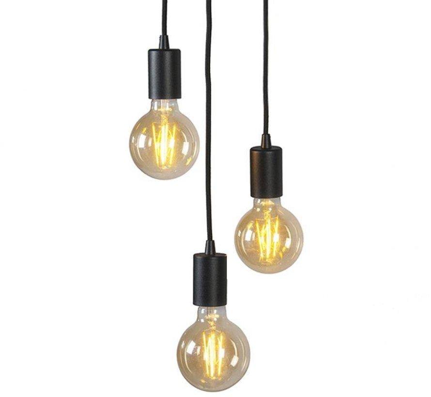 Hanglamp Brandon 3-lichts Zwart