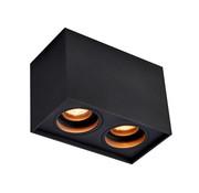 DMQ Opbouwspot New York GU10 vierkant 2-lichts Zwart