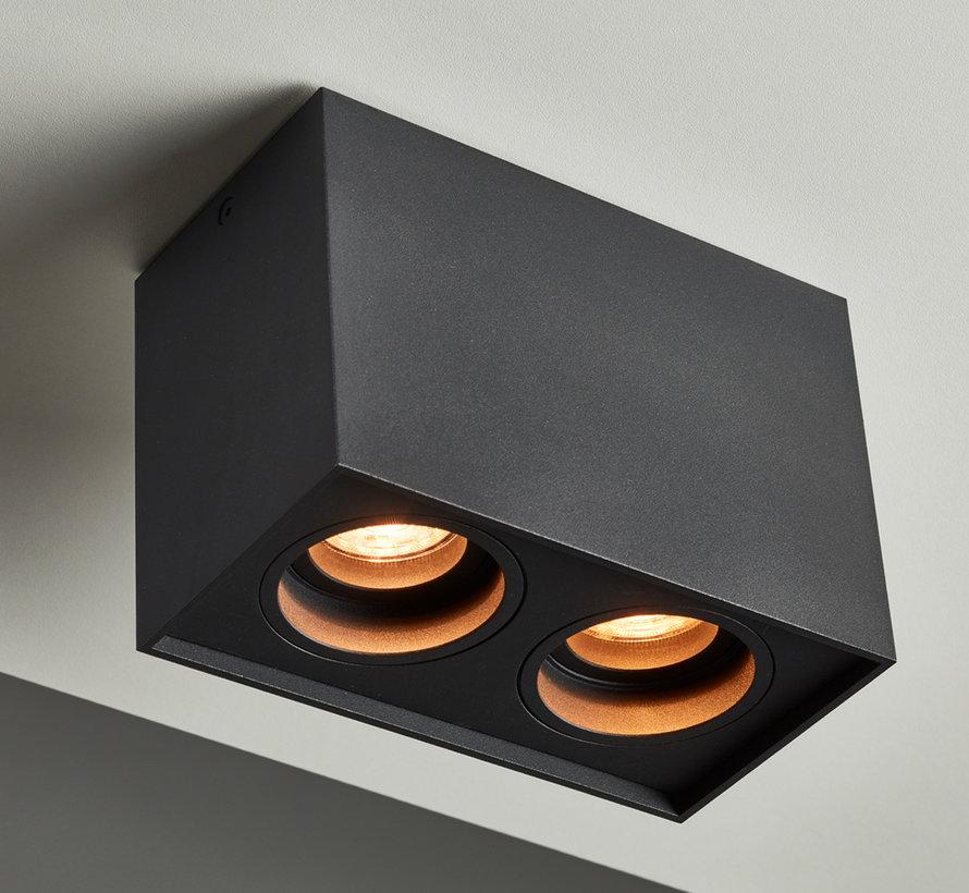 Opbouwspot New York GU10 vierkant 2-lichts Zwart