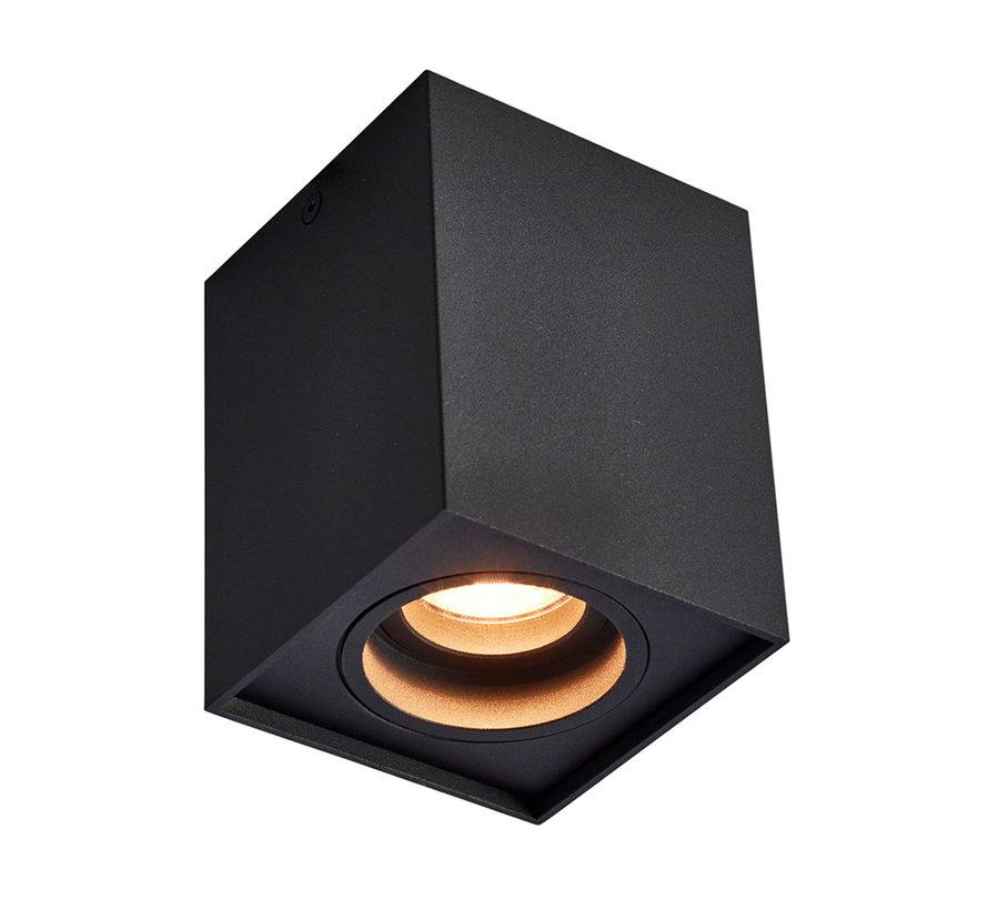 Opbouwspot New York GU10 vierkant 1-lichts Zwart