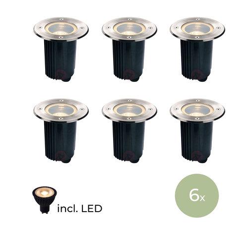 DMQ DMQ Grondspot Rond IP67 - Set van 6 stuks incl LED