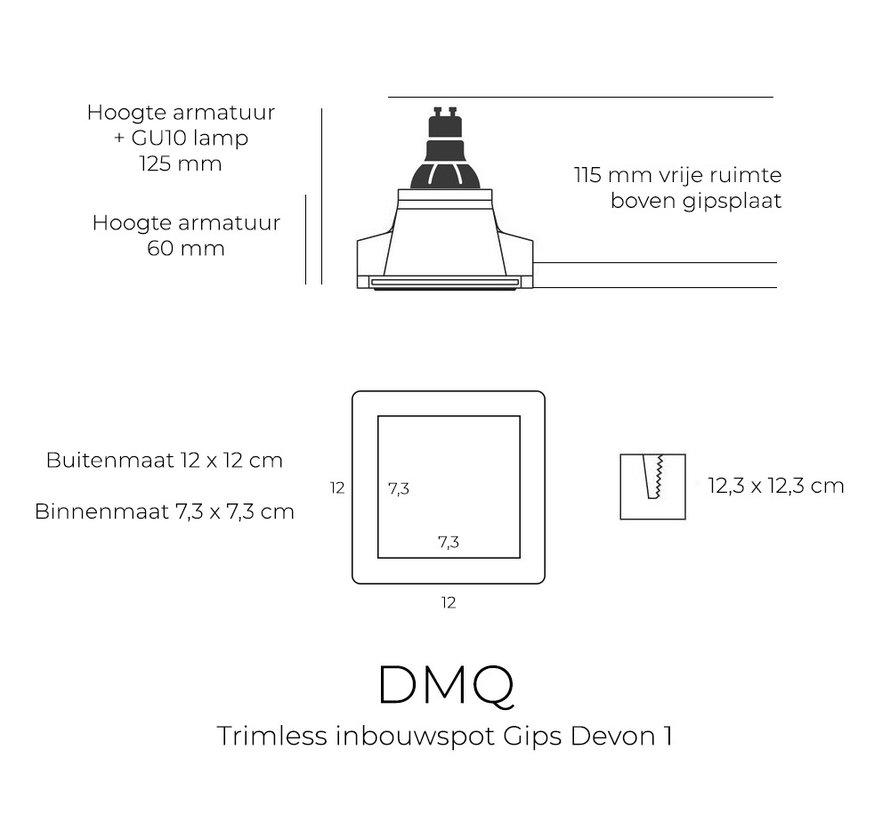 Trimless Inbouwspot Devon Gips GU10 Vierkant
