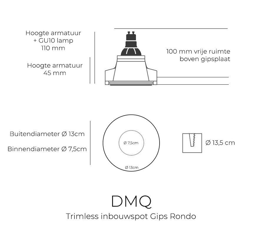 Trimless Inbouwspot Rondo Gips GU10 Rond