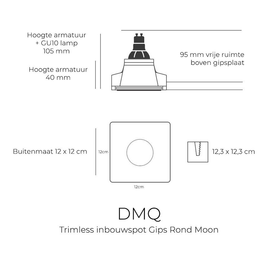 Trimless Inbouwspot Moon - Gips GU10 Rond