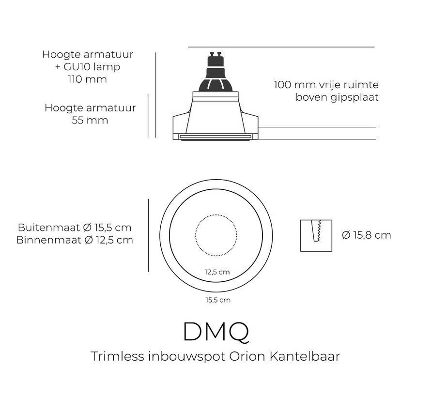 Trimless Inbouwspot Orion Gips GU10 Rond Kantelbaar