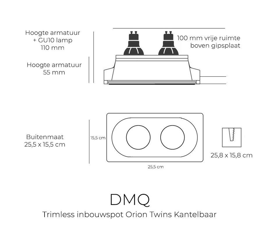 Trimless Inbouwspot Orion Twins Gips GU10 Rond Kantelbaar